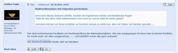 """Screenshot aus den """"Gelsenkirchener Geschichten"""" - die Diskussion über die Flüchtlingsproblematik wurde zunehmend absurd."""
