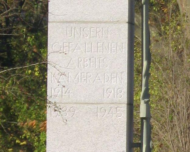 """Inschrift am sogenannten """"Kriegerdenkmal Schalker Verein"""""""